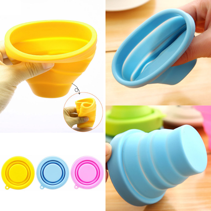 Silicone Delicate  Candy Color Collapsible Camping Travel 200ml Delicate  Telescopic Fashion 1pc New Drinking Folding Cup