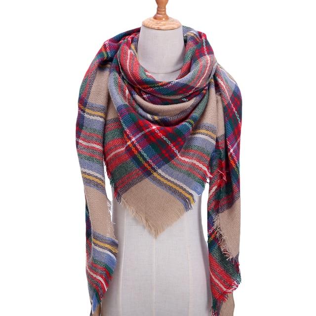 Designer 2018 tricoté printemps hiver femmes écharpe à carreaux en cachemire  chaud foulards châles de luxe b56db7b701d