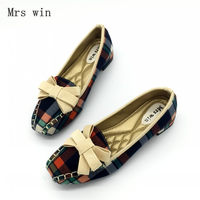 9204534a7526 2017 Fashion Blue Gingham Women Casual Loafers Square Toe Bowtie Flats  Heels Shoes For Woman Ladies Single Shoes Zapatos Mujer-in Women s Flats  from Shoes ...