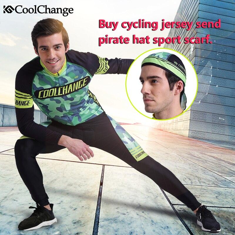 Цена за Coolchange велоспорт одежда с длинным рукавом велоспорт джерси установить горный велосипед дорожный велосипед велоспорт джерси получить пиратская шляпа шарф спорта