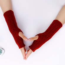 Autumn Winter Women Combing Fine Wool Cable Fingerless Gloves Thick Soft Knitted Woolen Arm Warmers Thumb-hole Arm Sleeve flouncing knit fingerless arm warmers