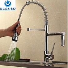 Ulgksd Роскошные Вытащить хромированный смеситель для кухни раковина кран Одной ручкой на бортике смеситель кухня водопроводной воды