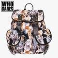 Gatos de impressão padrão de couro pu mochila mochila do vintage das mulheres 2016 who cares nova moda mochila escola bags para adolescentes