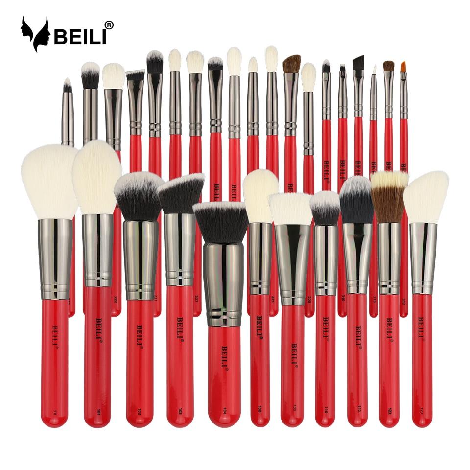 BEILI 30pcs Professional Makeup Brushes Set Natural Hair Powder Foundation Blusher Eyeshadow Eyebrow Eyeliner Makeup Brush Tools