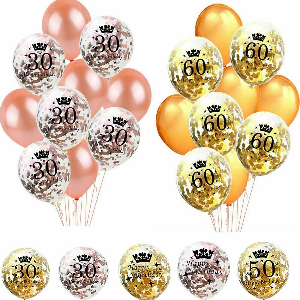 Zljq rosa ouro decorações da festa de aniversário adulto ouro número 18 30 40 50 60 feliz aniversário confetes balão hélio balon