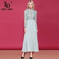 LD LINDA DELLA Women's Long Sleeve Maxi Dress Floral Hollow out Embroidery Long Dress Side Split Elegant Formal Party Dresses
