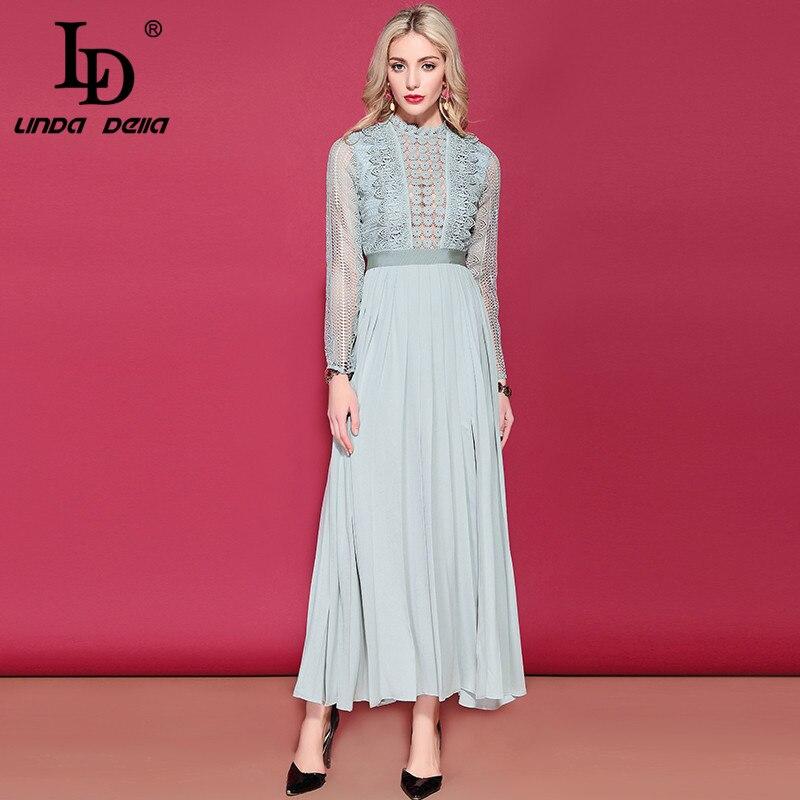 LD LINDA DELLA femmes manches longues Maxi robe Floral évider broderie longue robe côté fendu élégant formelle robes de soirée