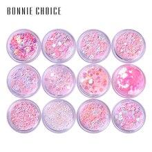 Bonnie Choice 12 коробок блеск для глаз смешанный чешуйчатый массивный лак для лица Тени для век с блестками набор украшений инструменты для тела наборы для макияжа