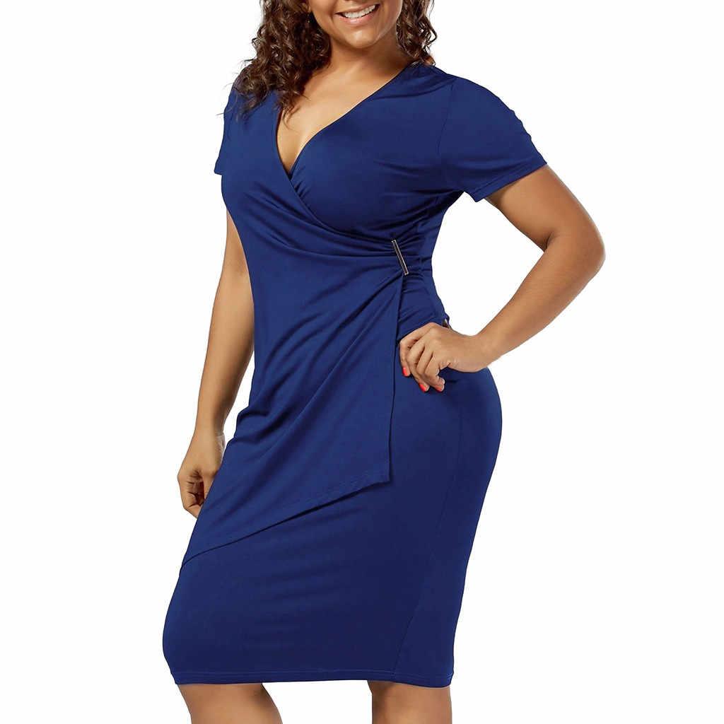JAYCOSIN 2019 Neue Sommer Frauen Kleid Sexy Mantel Mode Plus Größe V-ausschnitt Solide Metall Taste Design Kurzarm Bodycon 9040232