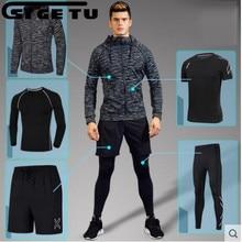 2017 Men's Running Sets 4-5-Pieces / Compression Sport Sets Basketball Gymnastik Strumpfhosen Gym Kleidung Fitness Jogging Sport