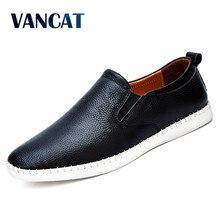 VANCAT Big Size Men Genuine Leather Shoes Slip On Black