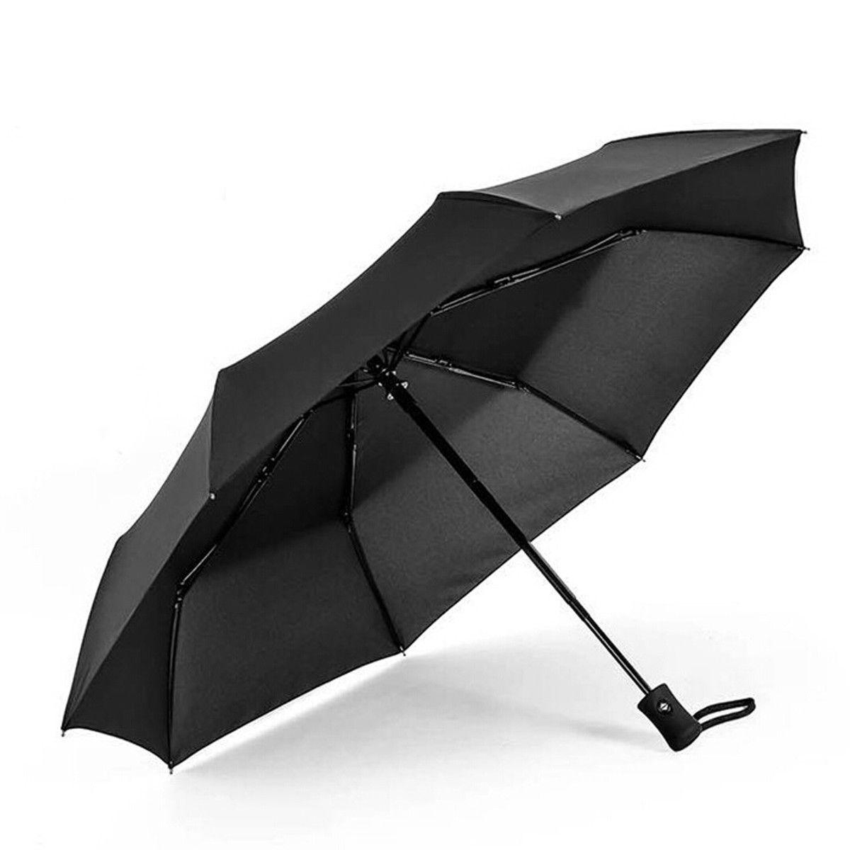 Новое поступление популярный автоматический зонт ветрозащитный мужской черный Компактный широкий автоматический открытый закрытый легкий - Цвет: Черный