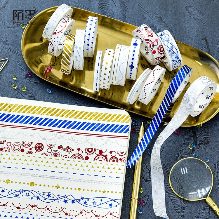 5pcs/set Odor Garden Washi Tape Color Line Golding Masking Tapes Decorative Stickers DIY Stationery School Supplies