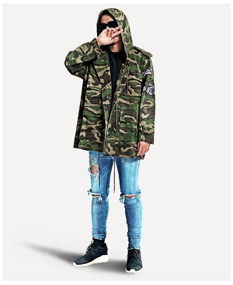 Aolamegs Camouflage Jacket Men Justin Bieber Style Rocket Embroidery Windbreaker Medium-Long Hooded Trench Coat Plus Size S-XXXL (12)