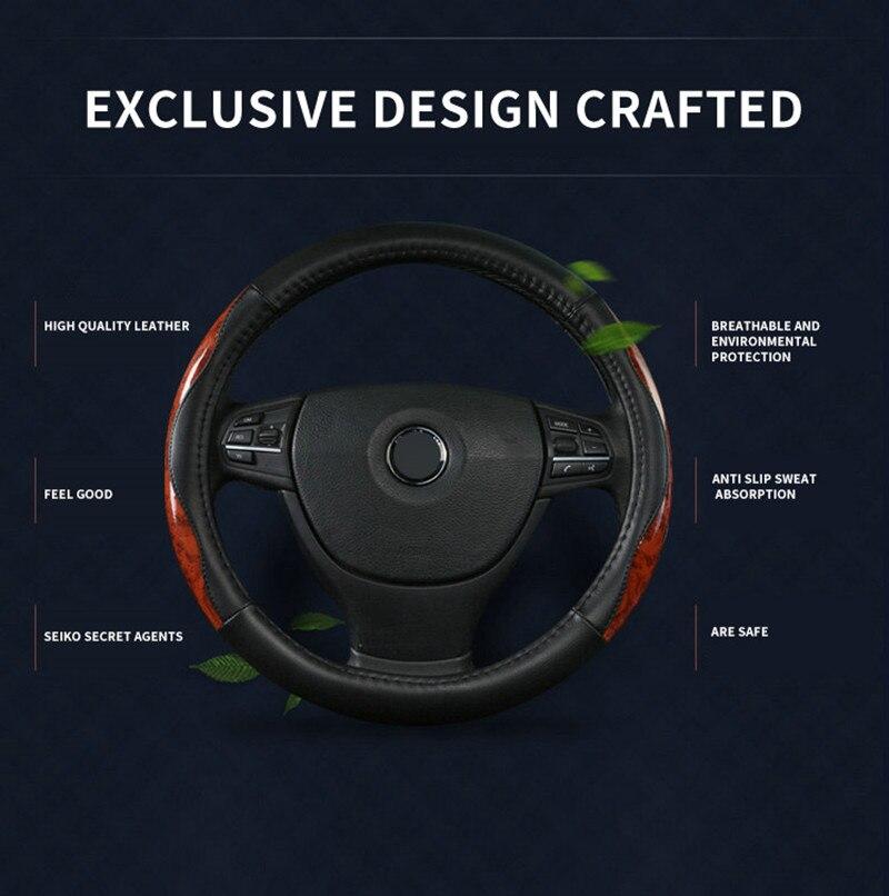TENGRUI Leather Steering Wheel Cover for citroen c5/c4 picasso/C4 All Model Wheel Caps Braiding Direksiyon Seti Araba Jant