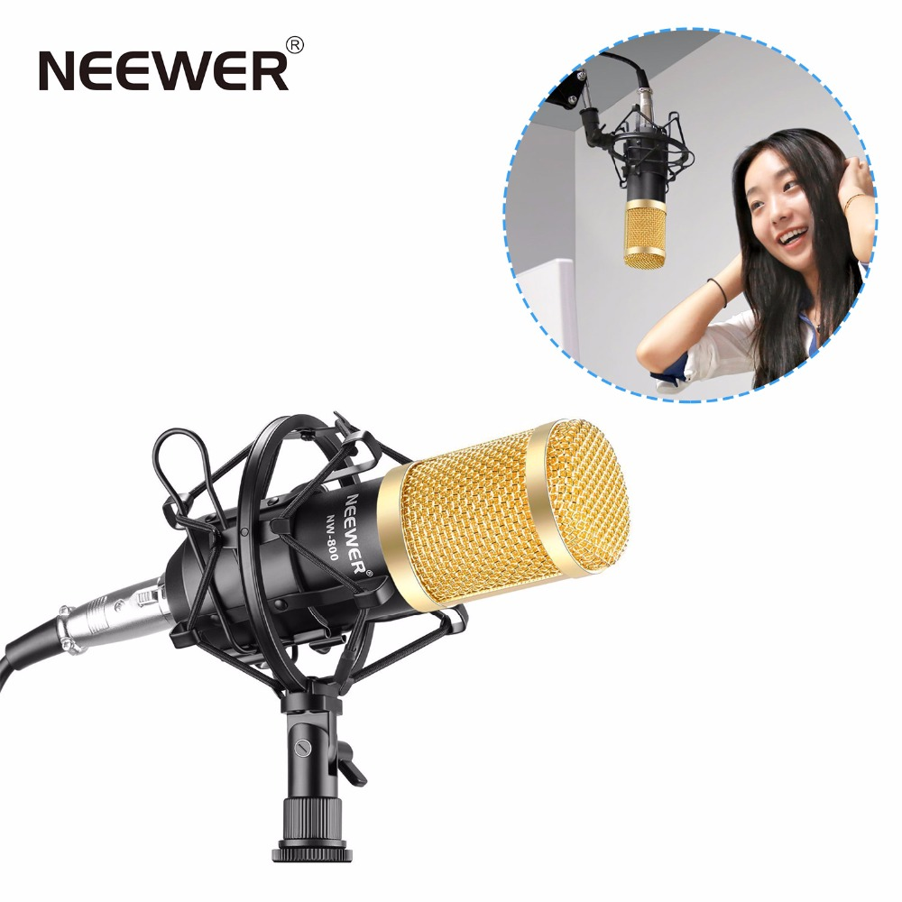 Neewer NW-800 Professional Studio Broadcasting Recording Set Condenser Microphone Ball-type Anti-wind Foam Cap Power Cable Black купить