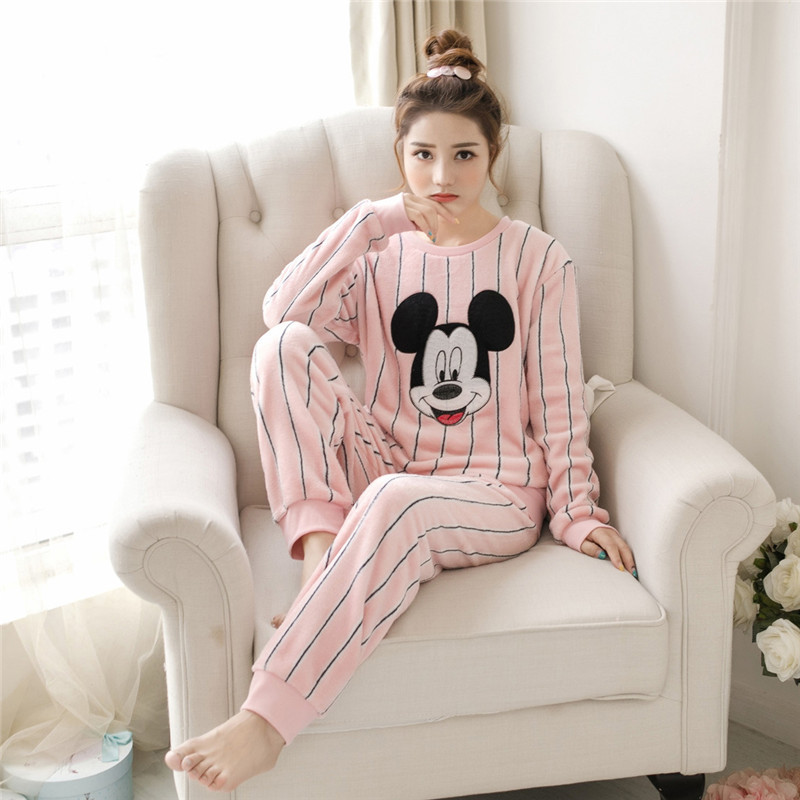 Women pajamas set Flannel Pyjamas Female Winter Women Blue Flower Print Winter Thick Warm Pajama Set Long Sleeve Full Trousers T