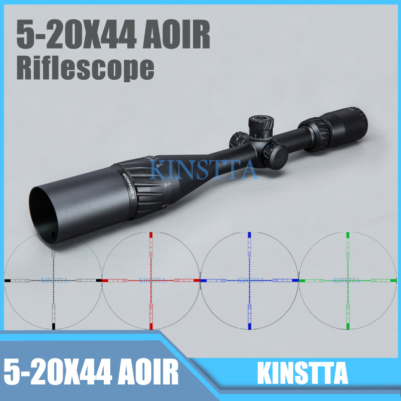 Tactical 5-20X44 AOIR Red Green Blue Color Reticle Optics Riflescope Illumination Rifle Scope For Airsoft Riflescope airsoft hunting shooting 5 20x44 aoir scopes red