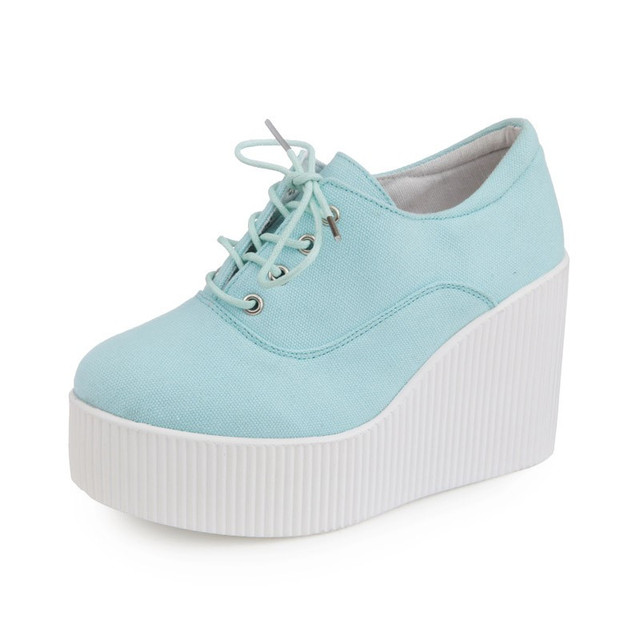 Fashion Women Floral Canvas Shoes Female Wedges Shoes Lace Up Platform Shoes 2016 Hot Selling Girl Comfort Casual Shoes XK071224