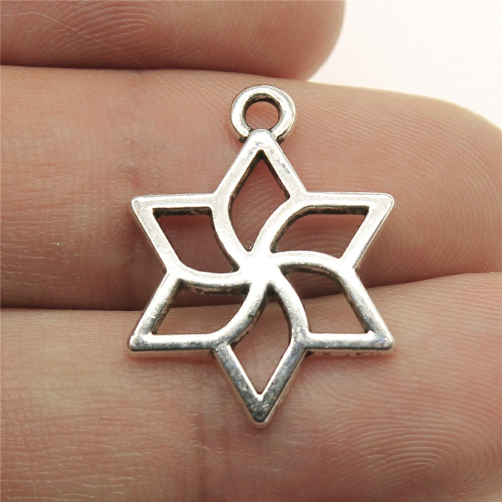 WYSIWYG 12pcs 23*17mm Hollow Star flowers Pendants Charms Findings Jewellery Making Findings for DIY Craft