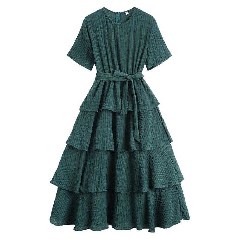 2018 New Summer Solid O-neck Vacation Beach Dress Women Elegant OL Vintage Cotton Loose Dresses High Quality Long Dress vestido 4