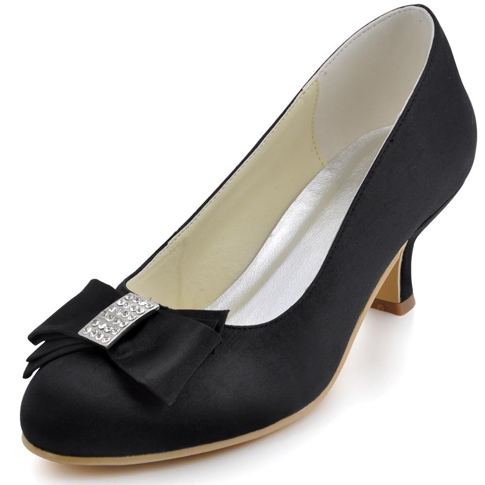 ФОТО EP2104 Black Women's Evening Prom Round Toe High Heel Rhinestone Bow Satin Wedding Bridal Shoes EU35-EU42