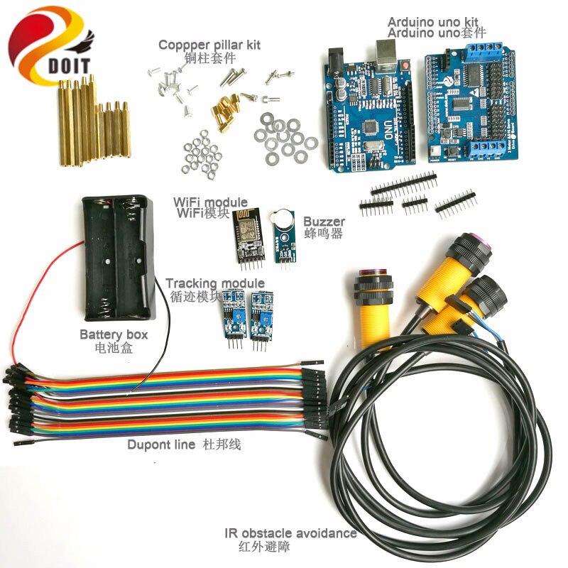 Kit de contrôle Wifi avec Module Wifi + carte UNO + carte de conducteur de moteur + évitement d'obstacle IR + Module de suivi pour Kit de bricolage de voiture Arduino