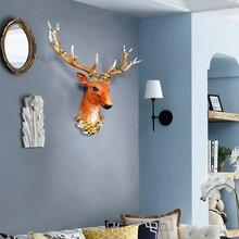 Simulated big deer head decoration wall hanging living room three-dimensional wall decoration porch bar creative animal wall pen