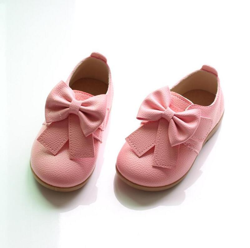 Brand New Girls Leather Pink & White Dancing Shoes Fashion Style Princess Girls Shoes Bowknot Dress Wedding Shoes