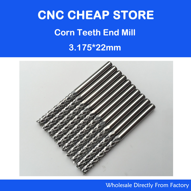 10PCS Carbide Milling Cutter 3.175*22mm End Mill Engraving Bits CNC Rotary Burrs Set Corn Milling Cutter PCB Router Bits 10pcs 1 2mm tungsten steel titanium coat carbide end mill engraving bits cnc pcb rotary burrs milling cutter drill bit