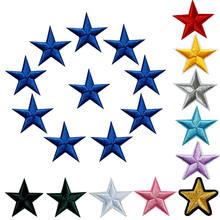 10 шт. нашивки с вышитыми звездами, нашивки с утюгом на значки золотого, серебряного, красного, черного, синего, розового цвета для одежды, DIY А...