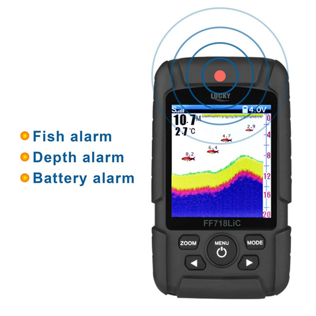 New Lucky Portable Wireless+Wired Two In One Waterproof Fish Finder Monitor Wireless Sonar Wired Transducer FF718LIC lucky ff718 lic