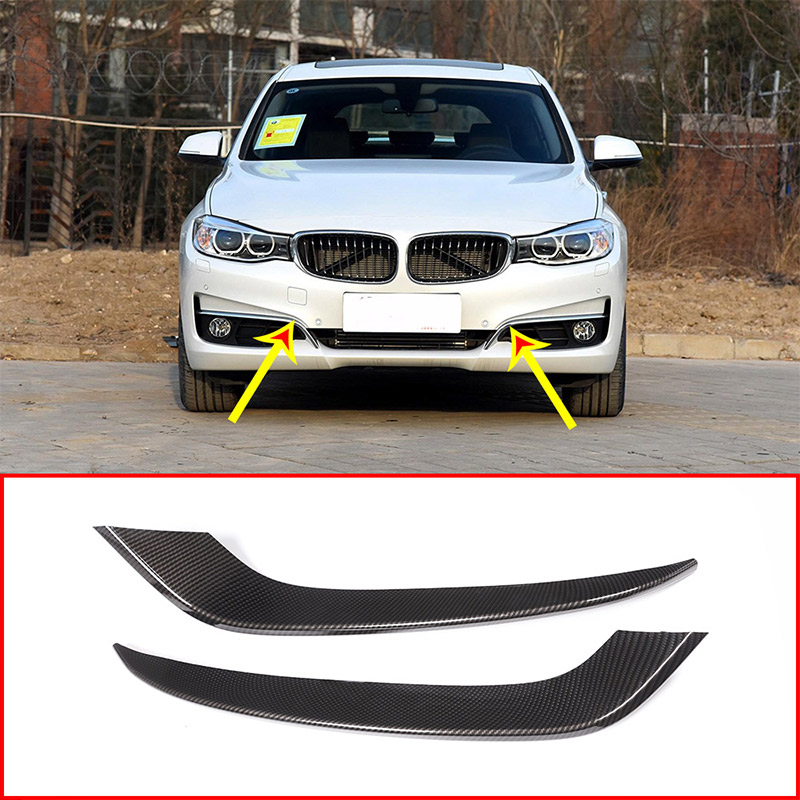 Carbon Fiber Style ABS Plastic Front Fog Lamp Strips Trim For <font><b>BMW</b></font> <font><b>3</b></font> <font><b>Series</b></font> <font><b>GT</b></font> Gran Turismo F34 2013-2017 Car Accessories 2pcs image