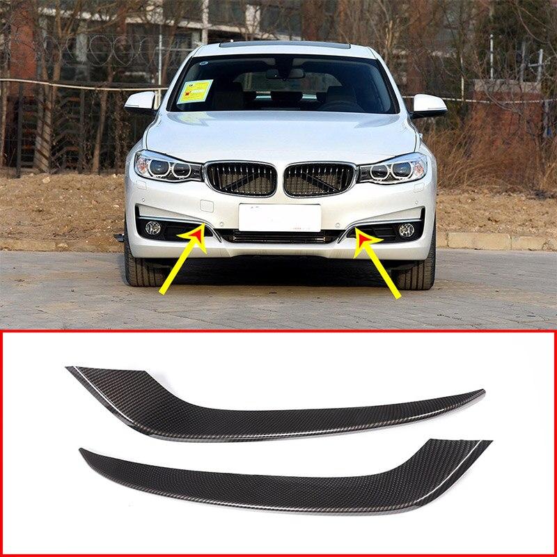 Garnitures de bandes de feu de brouillard avant en plastique ABS en Fiber de carbone pour BMW série 3 GT Gran Turismo F34 2013-2017 accessoires de voiture 2 pièces