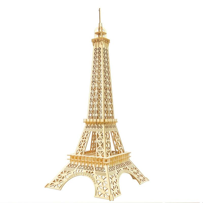 Wooden Puzzles DIY Assembly Kit Toy Kids Teens Adults World Eiffel Tower Famous Buildings Mechanical 3D Models Self Assembly
