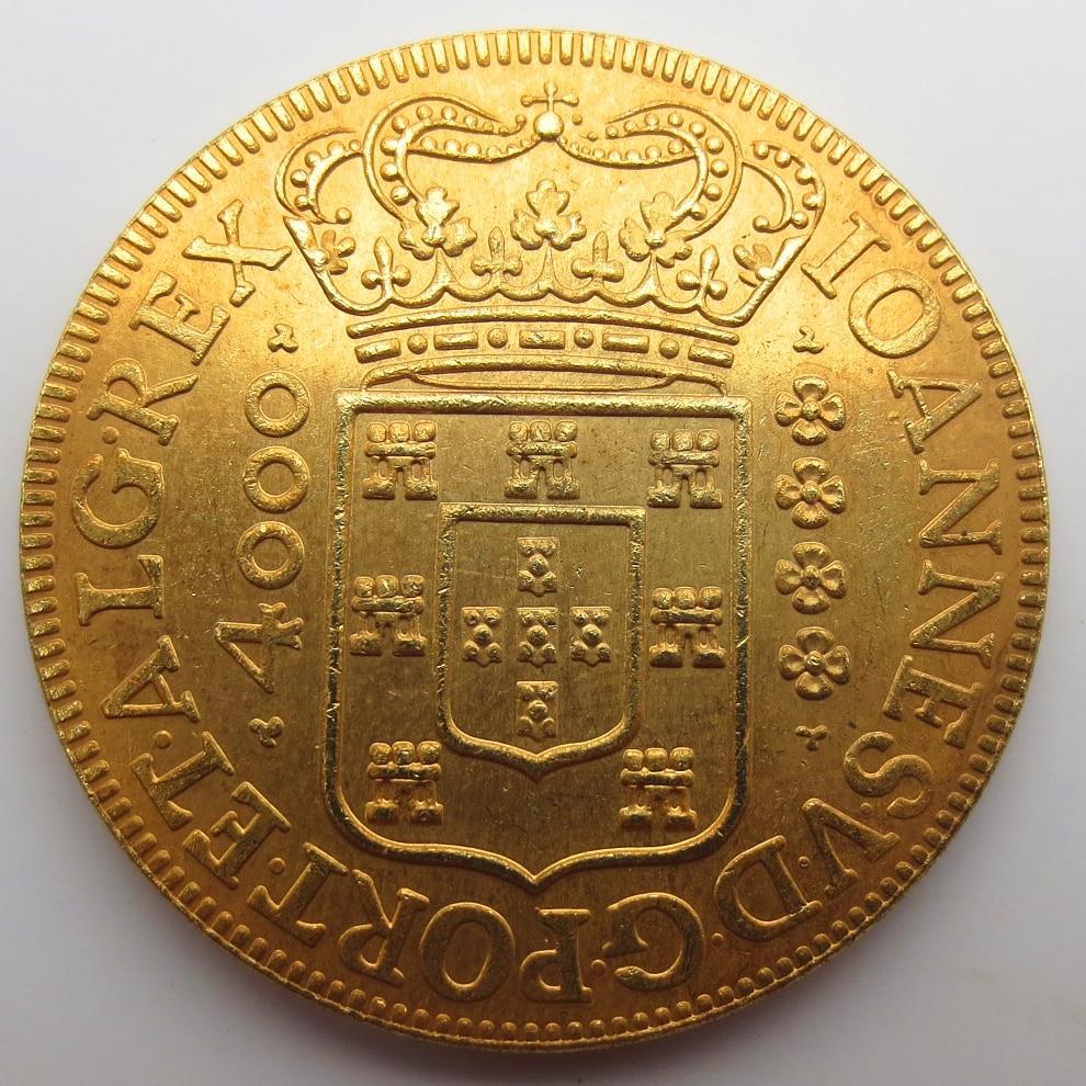 Бразилия Редкие 4000 Reis 1715 копирования монеты