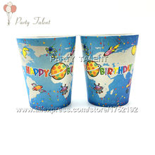 Party supplies 20PCS space and science theme party decoration disposable tableware paper cup cups with food film