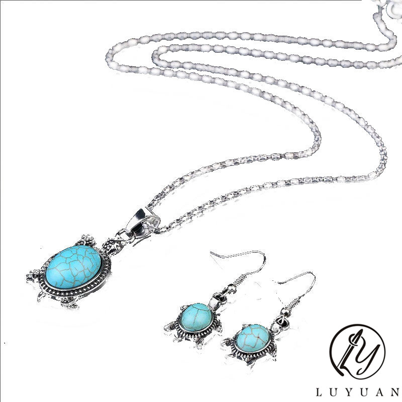 New Fashion Elegant Animal Turtle Shape Jewelry Sets Ancient Silver Plated Necklace Fine Fashion Charm Earrings