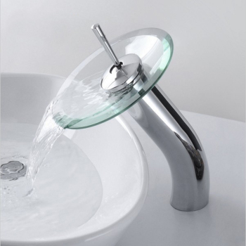 Bathroom circle  waterfall Faucet Chrome Finish Basin Sink Faucet Mixer Tap Waterfall Faucet . Bathroom sink glass Mixer Tap 1