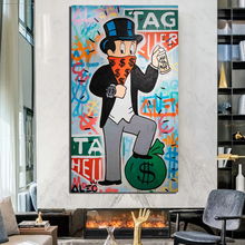 Alec Monopoly Stepping On The Wallet Canvas Painting Poster Prints Marble Wall Art Decorative Picture Modern Home Decor