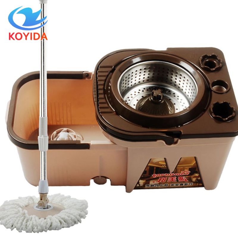 KOYIDA Portable Magic Spinning <font><b>Mop</b></font> Bucket Double-Drive Hand Pressure Stainless Steel Folding <font><b>Mop</b></font> Bucket Household Floor Cleaning