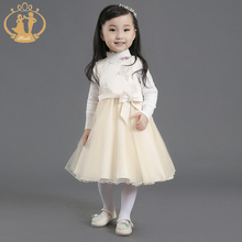 Nimble Elegant Sleeveless tea length Appliques Flower Autumn Winter Girls Dress satin organza Baby Dress for