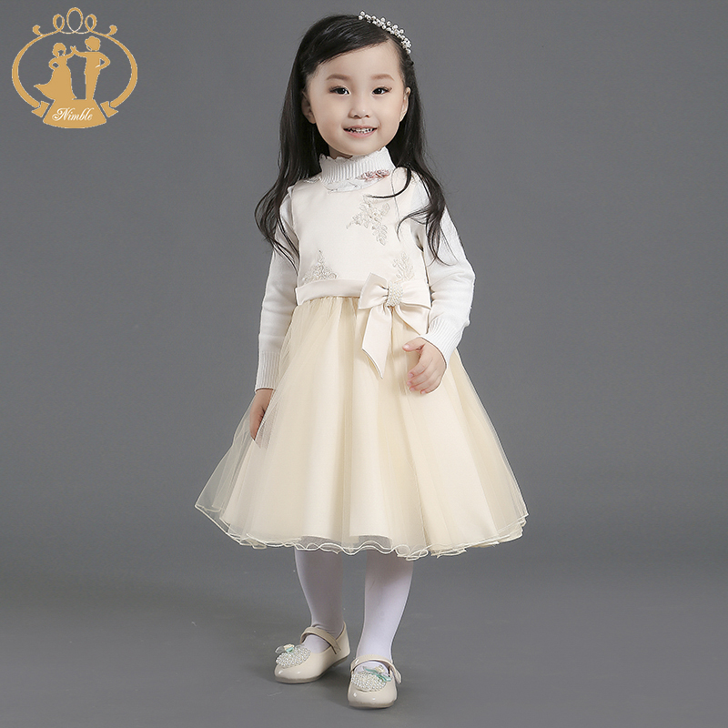 Nimble Elegant Sleeveless tea length Appliques Flowers Autumn Winter Girls Dress satin organza Baby Dress for