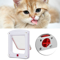 1PC Pet SuppliesCat Small Dog Flap Doors 4 Way Locking For Pets Entry Exit White Controllable