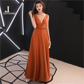 LOVONEY XYG820 Elegant A Line V Neck Beading Long Prom Dresses 2018 Sexy V-Opening Back Formal Party Dress Gown Vestido De Festa Prom Dresses