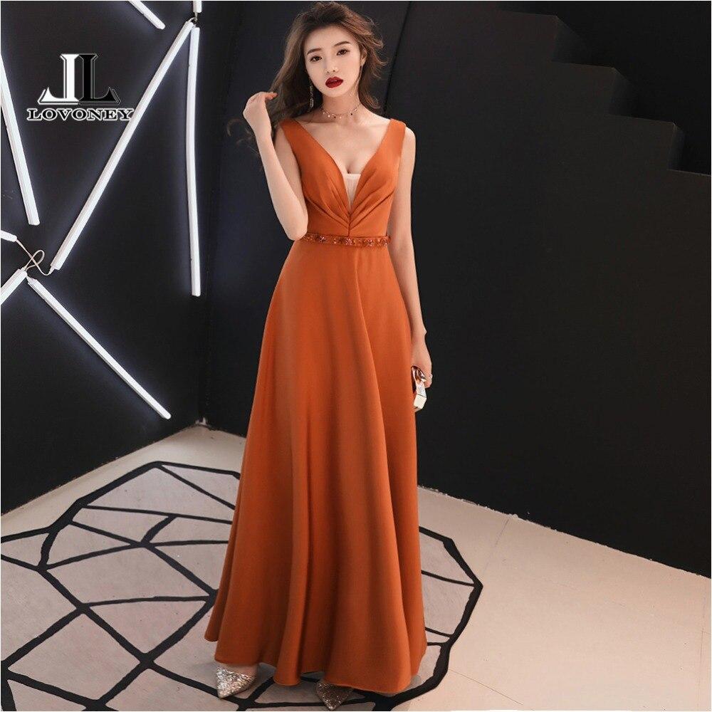 LOVONEY XYG820 Elegant A Line V Neck Beading Long   Prom     Dresses   2018 Sexy V-Opening Back Formal Party   Dress   Gown Vestido De Festa