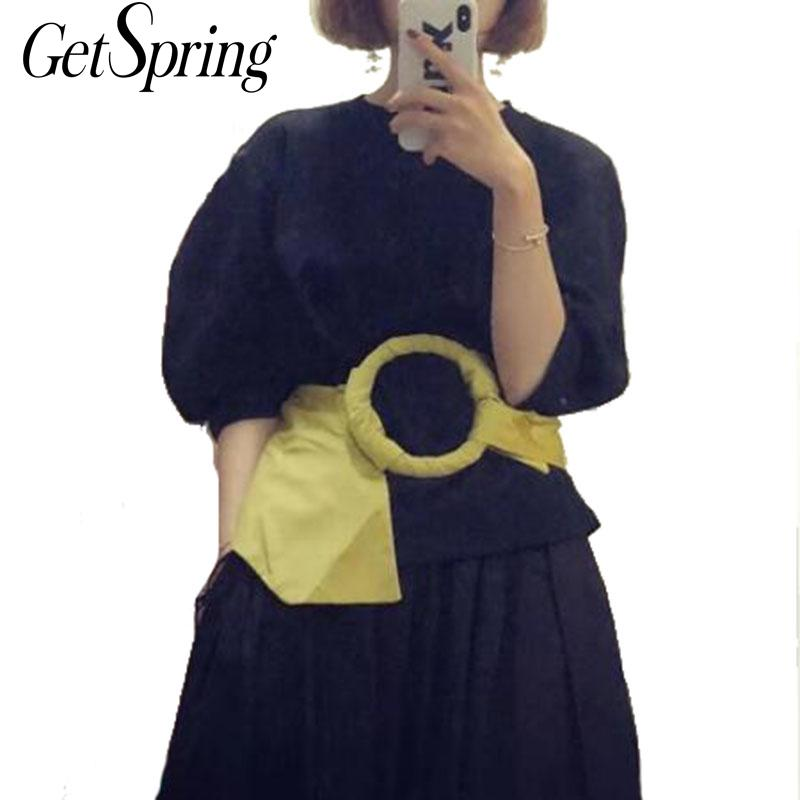 GETSPRING Women Belt Ring All Match Width Elastic Belts Woman Yellow Fashion Vintage Personality Wide Belts Women 2019 New Sexy