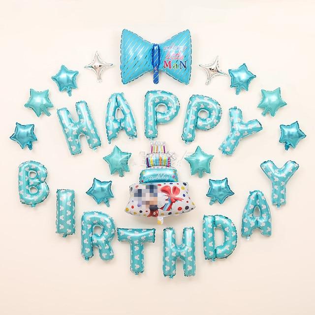 27pcs Set Tiffany Blue Baby Shower Boy Happy Birthday Balloons Alphabet Letters Stars Cake Party