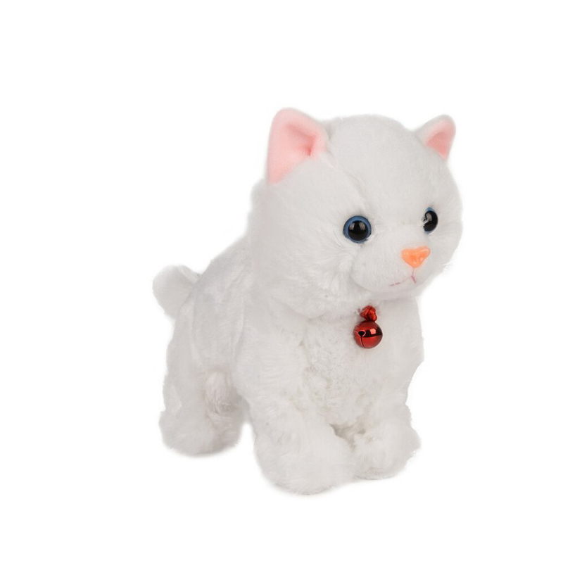 Remote Control Toys Robot Cats Electronic Pets Sound Control Plush Walk Pets Cute Rc Animal Kids Toys Robots White Toys