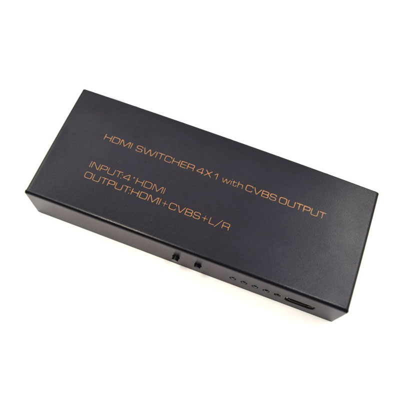 HDMI Switcher 4X1 with CVBS Output High Speed Switcher Splitter Support 3D 1080P For HDMI TV PS3 Xbox One QJY99